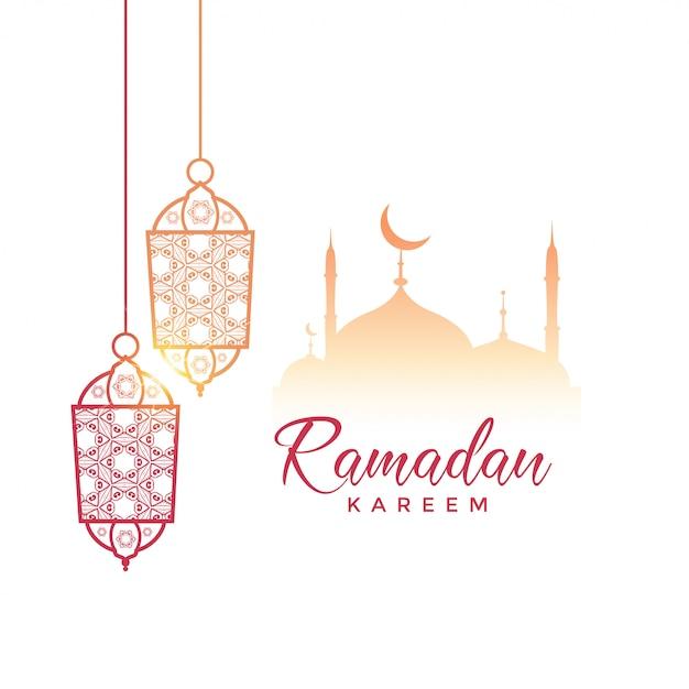Ramadan Kareem Gruß Design mit hängenden Lampen und Moschee Kostenlose Vektoren