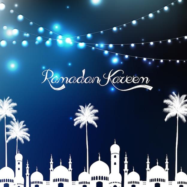 Ramadan kareem gruß poster mit moschee und palme Premium Vektoren