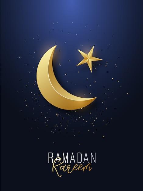 Ramadan kareem grußbanner. Premium Vektoren