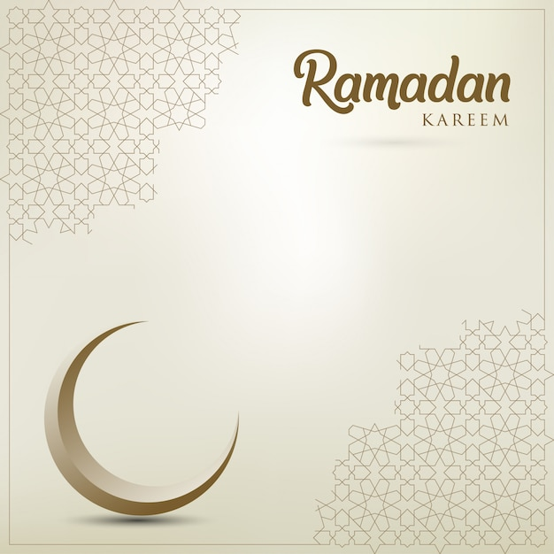 Ramadan-kareem-grußkarte mit goldenem verziertem halbmond Premium Vektoren