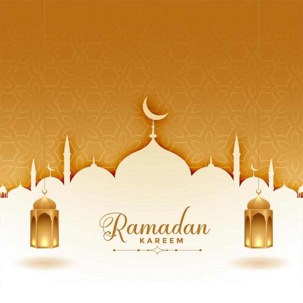 Ramadan kareem grußkarte mit moschee und laternen Kostenlosen Vektoren