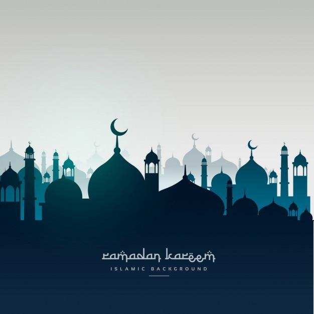 Ramadan kareem grußkarte mit moscheen Kostenlosen Vektoren