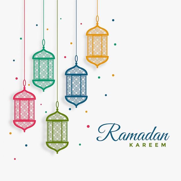 Ramadan kareem-hintergrund der dekorativen hängenden laternen Kostenlosen Vektoren