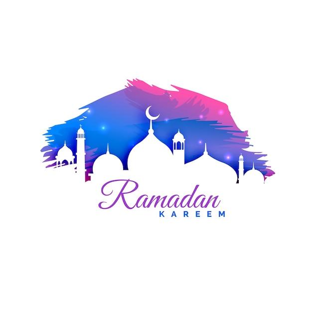 Ramadan kareem hintergrund mit moschee silhouette und aquarell hintergrund Kostenlosen Vektoren
