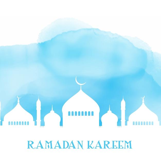 Ramadan kareem-hintergrund mit moscheenschattenbild auf aquarellbeschaffenheit Kostenlosen Vektoren