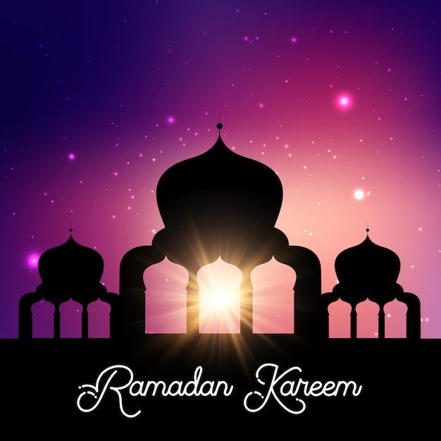 Ramadan kareem-hintergrund mit moscheenschattenbildnachthimmel Kostenlosen Vektoren