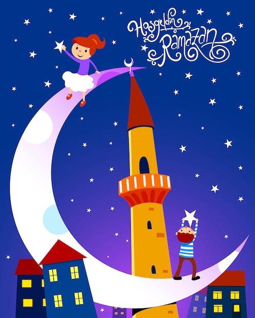 Ramadan kareem illustration mit kindern. handgemachte schrift. hosgeldin ramazan Premium Vektoren