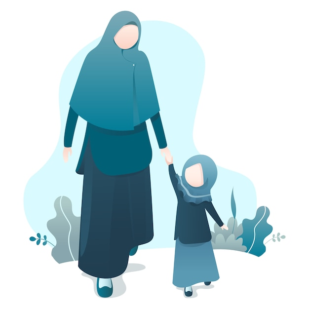 Ramadan kareem illustration mit moslemischer familienillustration Premium Vektoren