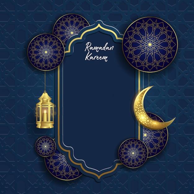 Ramadan kareem islamisch mit mond und laterne Premium Vektoren