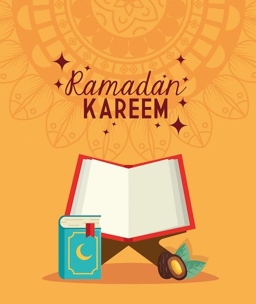 Ramadan kareem islamische karte, buch koran offen und datum frucht illustration Premium Vektoren