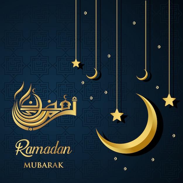 Ramadan kareem islamisches design ramadan mubarak kalligraphie und moschee kuppel silhouette Premium Vektoren