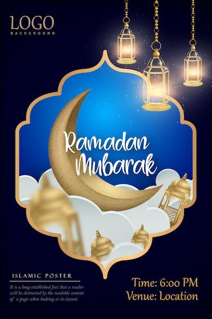 Ramadan kareem islamisches plakatdesign Premium Vektoren