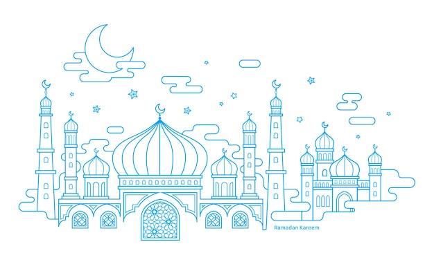Ramadan kareem kalligraphie mit dünner linie art moscheenlandschaft auf weißem hintergrund Premium Vektoren