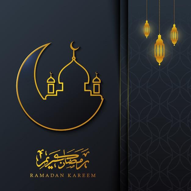 Ramadan kareem kalligraphie mit goldener moschee und mond auf dunklem hintergrund, Premium Vektoren