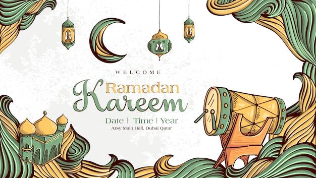 Ramadan kareem mit hand gezeichneter islamischer illustrationsverzierung auf weißem schmutzhintergrund Kostenlosen Vektoren