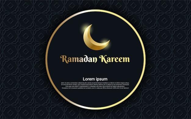 Ramadan kareem mit mond und kreisgoldhintergrund Premium Vektoren