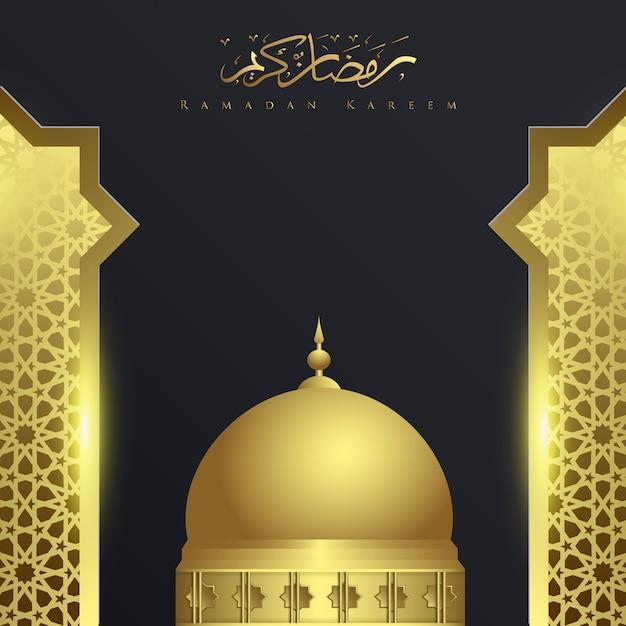 Ramadan kareem mit moscheenhintergrundverzierung Premium Vektoren