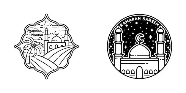 Ramadan kareem monoline design Premium Vektoren