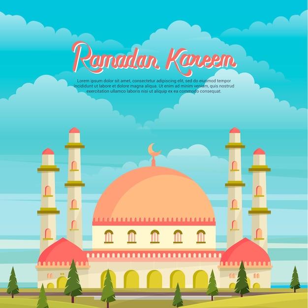 Ramadan-kareem-moschee, die landschaft errichtet Premium Vektoren