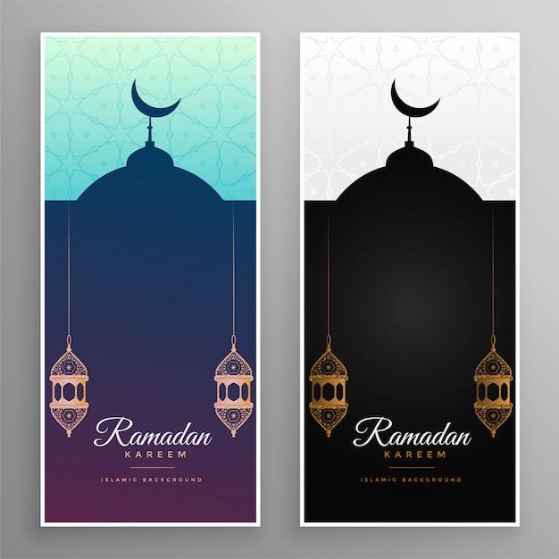 Ramadan-kareem-moschee und lampenfahnendesign Kostenlosen Vektoren