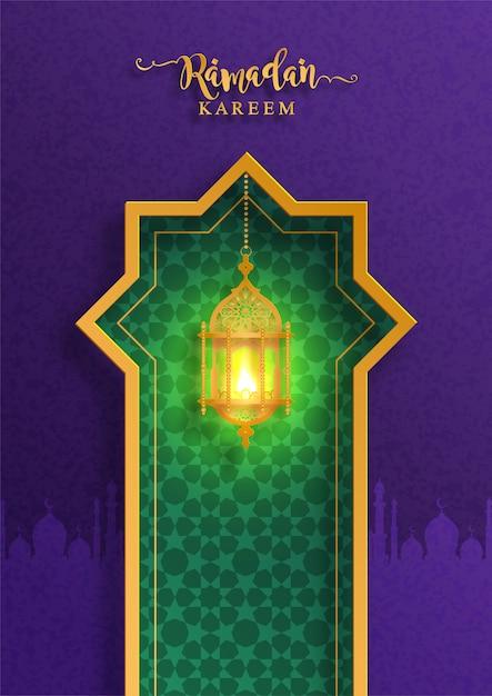 Ramadan kareem oder eid mubarak grußhintergrund islamisch mit goldmuster und kristallen auf papierfarbhintergrund. Premium Vektoren