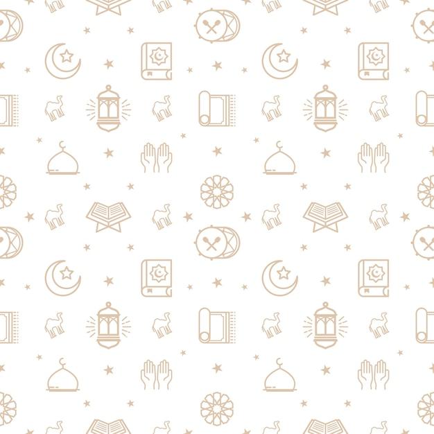 Ramadan Kareem Pattern, Eid Mubarak Hintergrund, Linie Icons Set ...