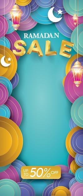 Ramadan kareem roll-up-verkauf vorlage Premium Vektoren
