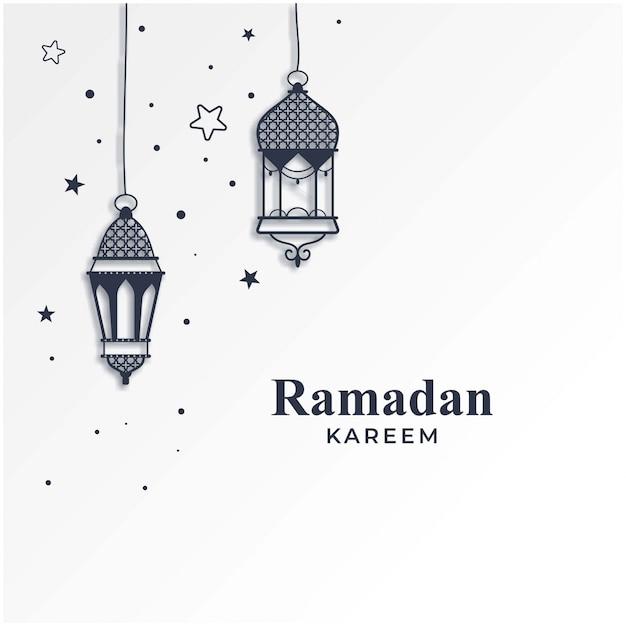 Ramadan kareem saison hintergrund mit hängelampen Premium Vektoren