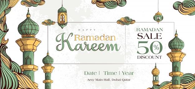 Ramadan kareem sale banner mit handgezeichneter islamischer illustrationsverzierung auf weißem schmutzhintergrund. Kostenlosen Vektoren