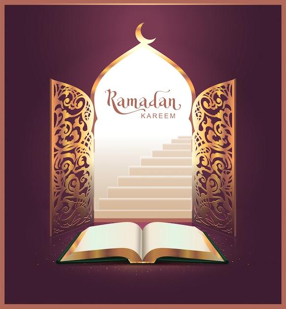 Ramadan kareem schriftzug und offenes buch, tür Premium Vektoren
