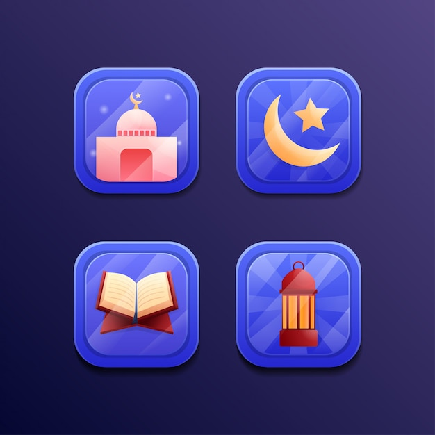 Ramadan kareem set icon spieldesign ui Premium Vektoren