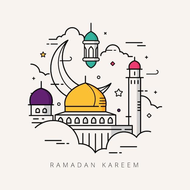 Ramadan kareem strichzeichnungen Premium Vektoren