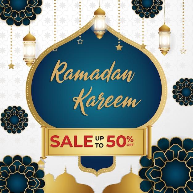 Ramadan kareem super sale discount quadratische banner vorlage Premium Vektoren