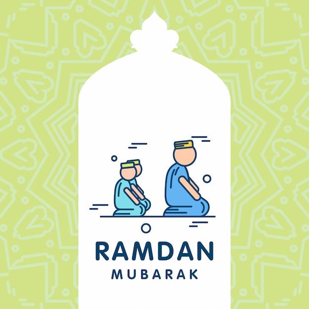 Ramadan kareem-vektor-gruß-karten-hintergrund Premium Vektoren