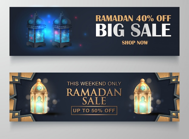 Ramadan kareem verkauf schablonendesign Premium Vektoren