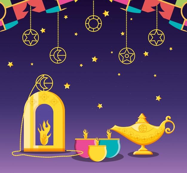 Ramadan kareen feier mit kerzen Premium Vektoren