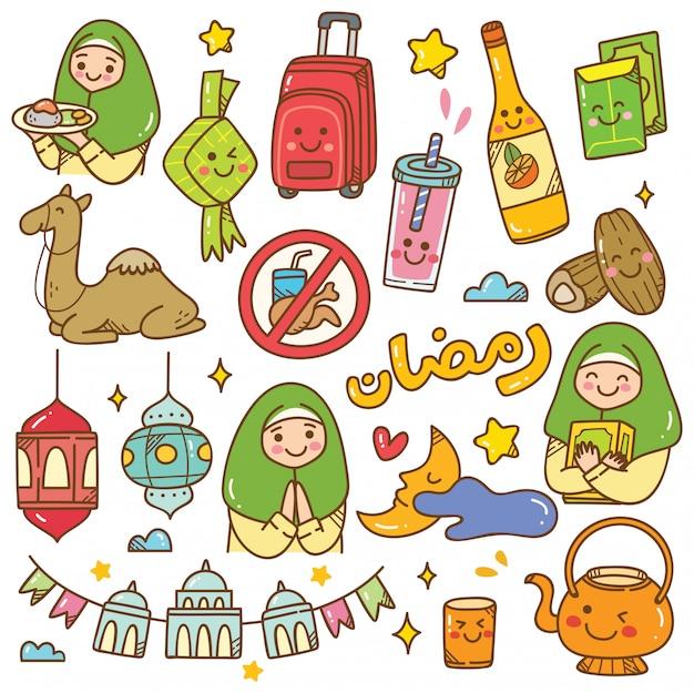 Ramadan kawaii gekritzel Premium Vektoren