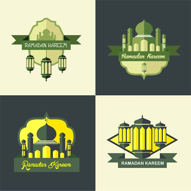 Ramadan-moschee-logo-klassiker einfach Premium Vektoren