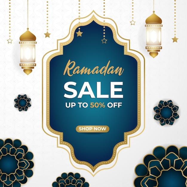 Ramadan mubarak super sale discount square banner Premium Vektoren