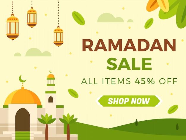 Ramadan sale banner vorlage Premium Vektoren