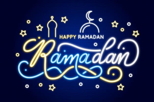 Ramadan schriftzug neon sign konzept Kostenlosen Vektoren