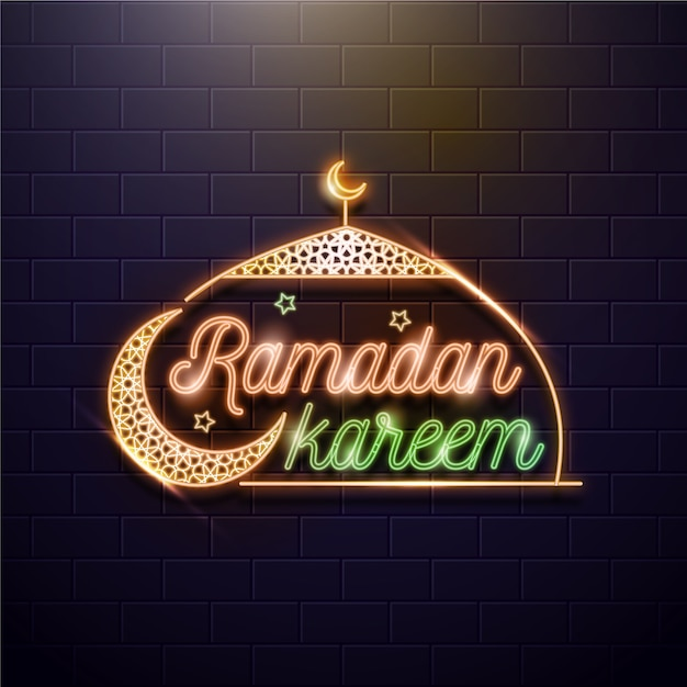 Ramadan schriftzug neonschild mit mond Kostenlosen Vektoren
