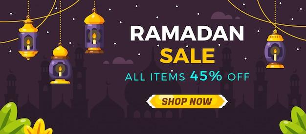 Ramadan-verkaufs-social media-fahnen-schablone Premium Vektoren