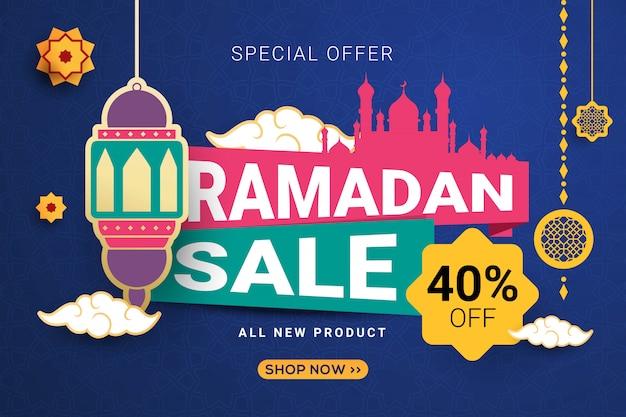Ramadan-verkaufsfahnen-schablonenhintergrund Premium Vektoren