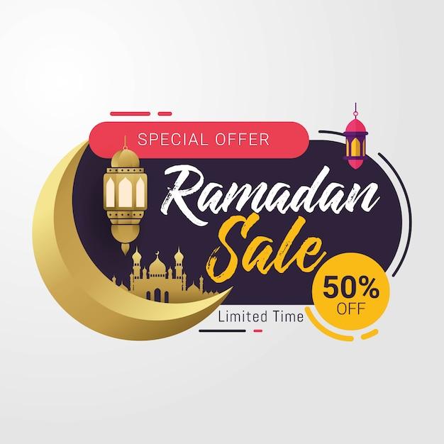 Ramadan-verkaufsfahnenschablonen-designhintergrund Premium Vektoren