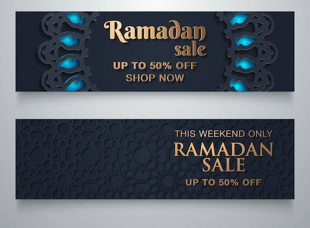 Ramadan-verkaufshintergrund mit kopienraum Premium Vektoren