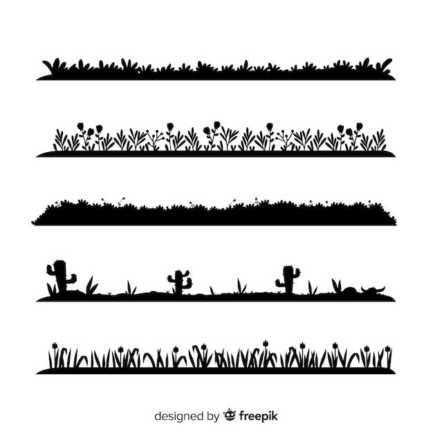 Rand des schwarzen grases silhouettiert ansammlung Kostenlosen Vektoren