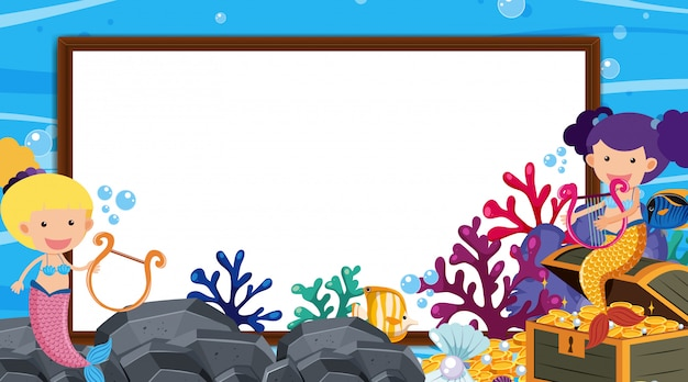 Randschablone mit unterwasserszene Premium Vektoren
