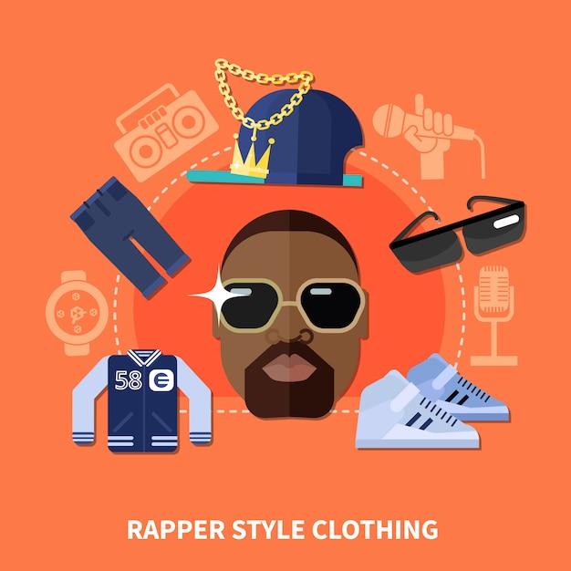 Rapper style kleidung zusammensetzung Premium Vektoren