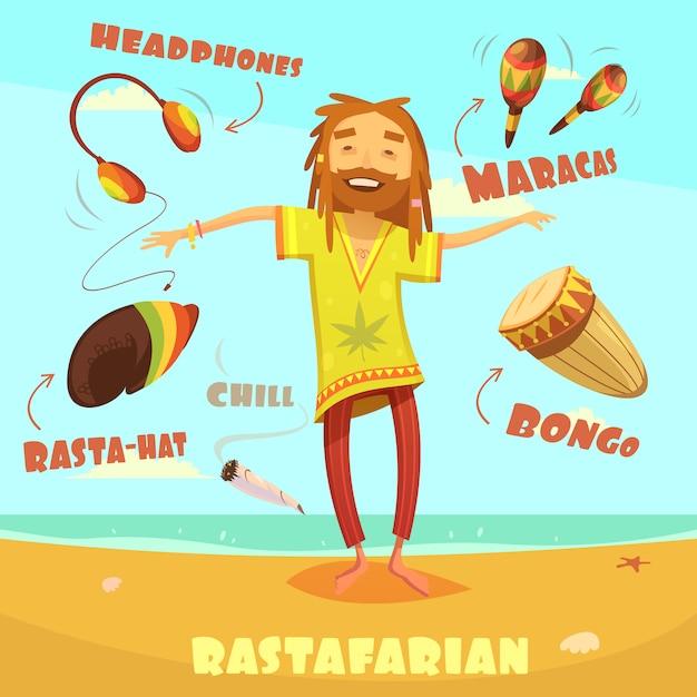 Rastafarian charakter illustration Kostenlosen Vektoren